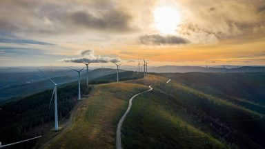 Windmills providing renewable energy at Serra da Lousã